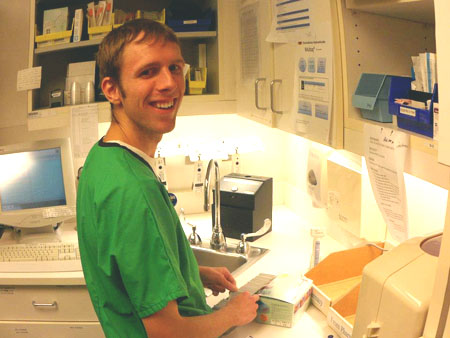 Jared Ratzlaff working at the hospital